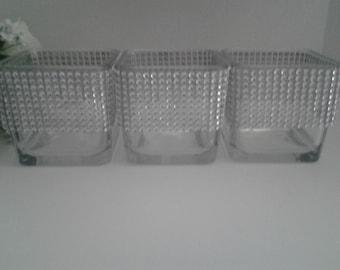 3 Wedding candle votives or flower vase holder, candle holder, flower vase, rhinestone candle holder, rhinestone flower vase