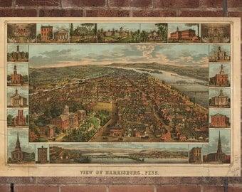 Harrisburg Pennsylvania Vintage Print Poster Map 1855 Poster of PA Map Art Wall Decor