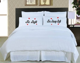 Valentines Day Pillow Cases, Mr./Mrs. Always Right Pillowcases, couples pillow cases