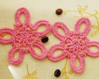 Pink flower Set 2 Crocheted flower applique Embellishments