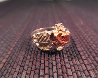 Retro Sterling Silver Gold Wash Flower Ring - 8