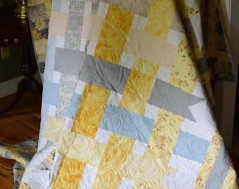 Yellow and Gray ribbon Quilt