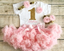 Personalised Pink & Gold First Birthday Tutu Outfit, Glitter Number Onesie, Matching Headband Barefoot Sandals Baby Girl, 1st Cake Smash