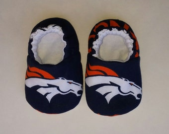 Denver Broncos baby slippers, baby shoes, crib shoes, baby booties