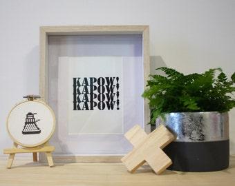 Dalek Dr Who Cross Stitch framed in bamboo hoop