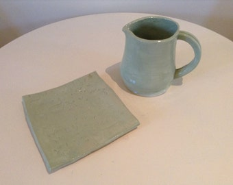 Mint Pitcher and Plate Set, Wilderness Print