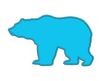 Silhouette Grizzly Bear Applique Designs Machine Applique Embroidery Designs 5 Size - INSTANT DOWNLOAD