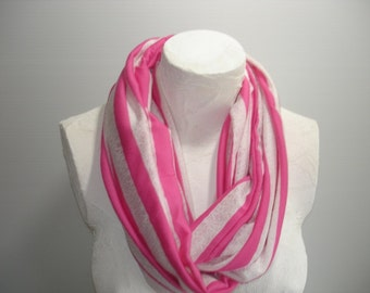 Infinity Scarf - Pink Striped Knit Scarf - Pink and White Scarf - Gift for Her - Striped Infinity Scarf
