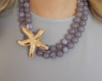 Mauve Beaded Statement Necklace with Large Starfish Charm