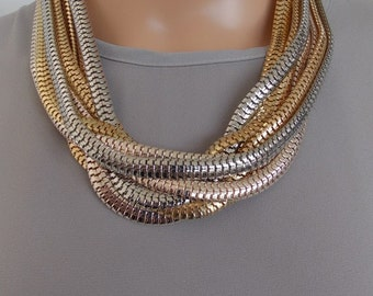 Chunky Gold Silver and Rose Gold Chain Statement Necklace