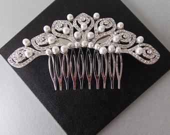 Silver Crystal Pearl Bridal Wedding Vintage Style Haircomb