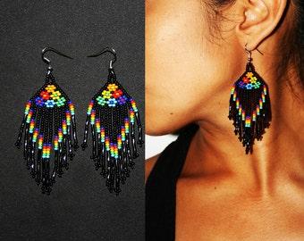 Native American Dangle Earrings, Huichol Earrings, Native American Beaded Earrings, Black, Seed Bead Earrings, Flower Earrings