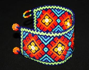 Stunning Native American Peyote Bracelet, Mexican Beaded Bracelet, Huichol Bracelet, Seed Bead Bracelet, Traditional Tribal Cuff Bracelet