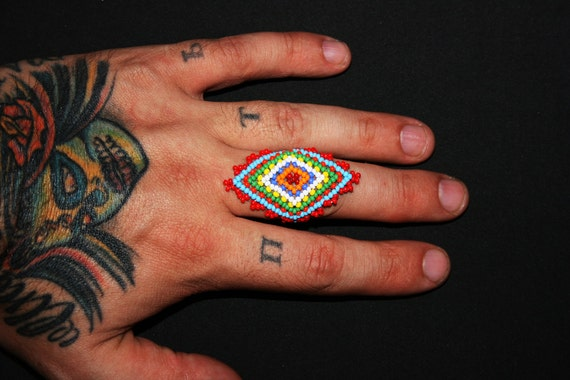 Tribal Ring, Huichol Ring, Beaded Ring, Native American Beadwork, Ojo de Dios Ring, Mexican Beaded Ring, Native Ring, One Size Fits All