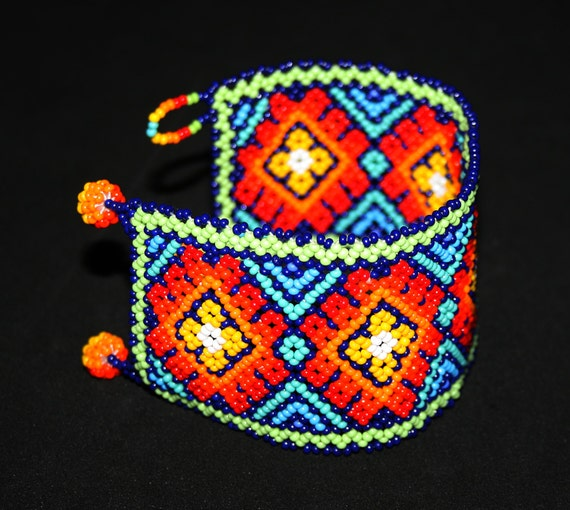 Stunning Native American Peyote Bracelet, Mexican Beaded Bracelet, Huichol Bracelet, Seed Bead Bracelet, Traditional Tribal Cuff Bracelet