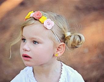 Felt Flower Garland Crown- Customizable- Hand Rolled Wool Felt Flowers on Skinny Elastic Headband