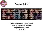 Multi Coloured Celtic Knot Square Stitch Beaded Bracelet Pattern