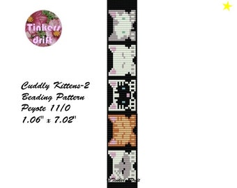 Cuddly Kittens-2 Peyote Beaded Bracelet Pattern