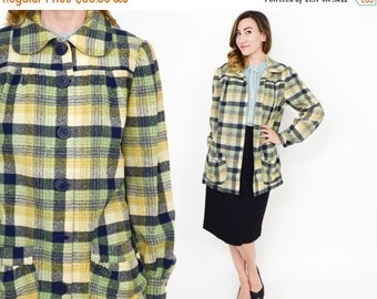 Summer SALE 50s Green Wool Plaid Short Coat | Large