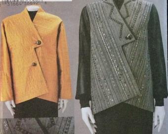Vogue 7746 - March Tilton Asymmetrical Jacket or Vest with Shaped Hemline - Size XS S M