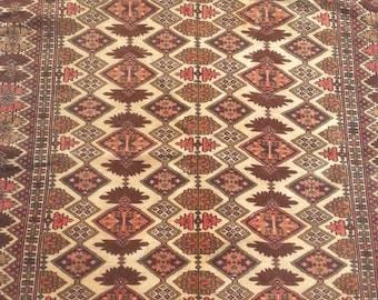 Size:5.7 ft by 4 ft Handmade Rug Vintage Afghan Tribal Herati Camel Wool Carpet