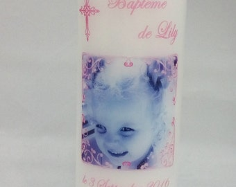 Personalized Baptism Candle, Personalised Christening Candle, Personalised Photo Candle