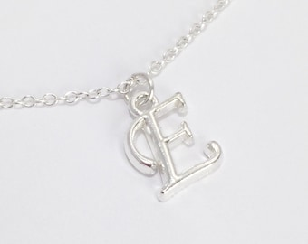 Silver Monogram Necklace/Silver Initial Necklace/Silver Alphabet Necklace/Silver Letter Necklace