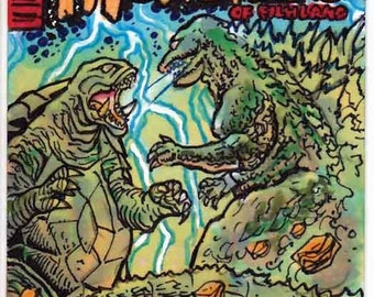 "Famous Monsters Godzilla vs Gamera ""After Bob Eggleton"" Cover Recreation Personal Sketch Card"