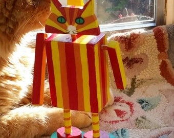 WoodenCat #CatBots red yellow and orange stripes 8 inches high handmade decorated by Peter Brighouse, your choice of cat art