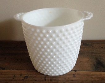 Vintage White Hobnail Milkglass Ice Bucket/Planter by Fenton 1950s M581