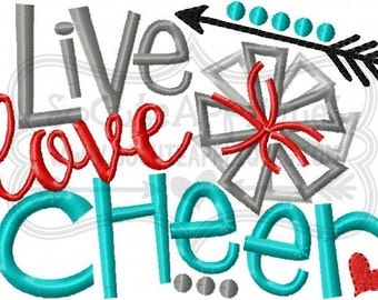 Live love Cheer Embroidery design 5x7 6x10, socuteappliques, pom pom embroidery sayings, cheer mom applique, cheer sister embroidery