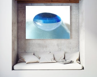 Art Print of Seaham SeaGlass - Blue and White Multi - LP6 - From Seaham England
