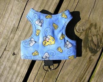 SafetyKatz Walking Jacket Mice & Cheese Print ; Custom Made Cat Reversible Harness Vest Collar Kitten Kitty