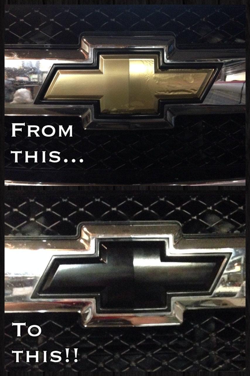 Gloss Black Vinyl Chevy Bowtie Emblem Overlays Decal Wrap