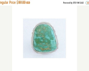 Navajo Silver Turquoise Ring Native American 10 Signed and Free Shipping