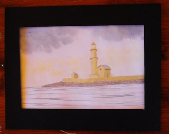 original watercolor painting, painting of lighthouse, sea painting,