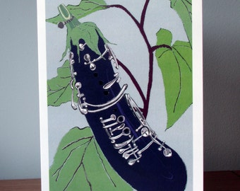Aubergine. Clarinet. Birthday Card for Music Lover. Food Illustration. Thank You Card for Music Teacher. Vegetable. Instrument.