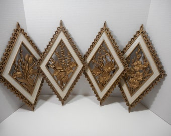 Vintage Mid Century Wall Plaques...Gold Floral Wall Decor...Burwood Products Wall Art..