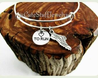 Love to Run Bracelet, Love to Run Bangle, Runner Bangle, Handmade Runner Jewelry,  Running Sneaker, Marathon Runner Gift, Athlete Bracelet