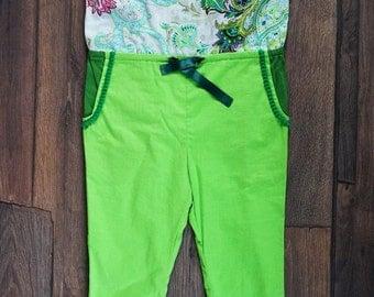 Baby jumpsuit. Light green baby jumpsuit/Girls jumpsuit/Flower baby jumpsuit/Summer baby jumpsuit/Cotton baby jumpsuit