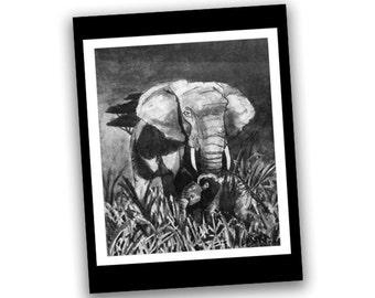 Elephant Print Wall Art - Original Artwork Reproduction - Baby Elephant Print - Elephant Artwork - Elephant Art Print - Pen and Ink