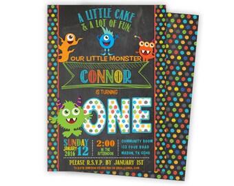 Monster Birthday Invitation - Little Monster Party Invitations - Monster 1st Birthday - 2nd 3rd - colorful - chalk Monsters Invitation