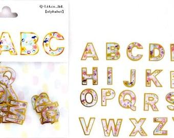 Kawaii Alphabet Letters Flake Stickers Sack (78Pcs)