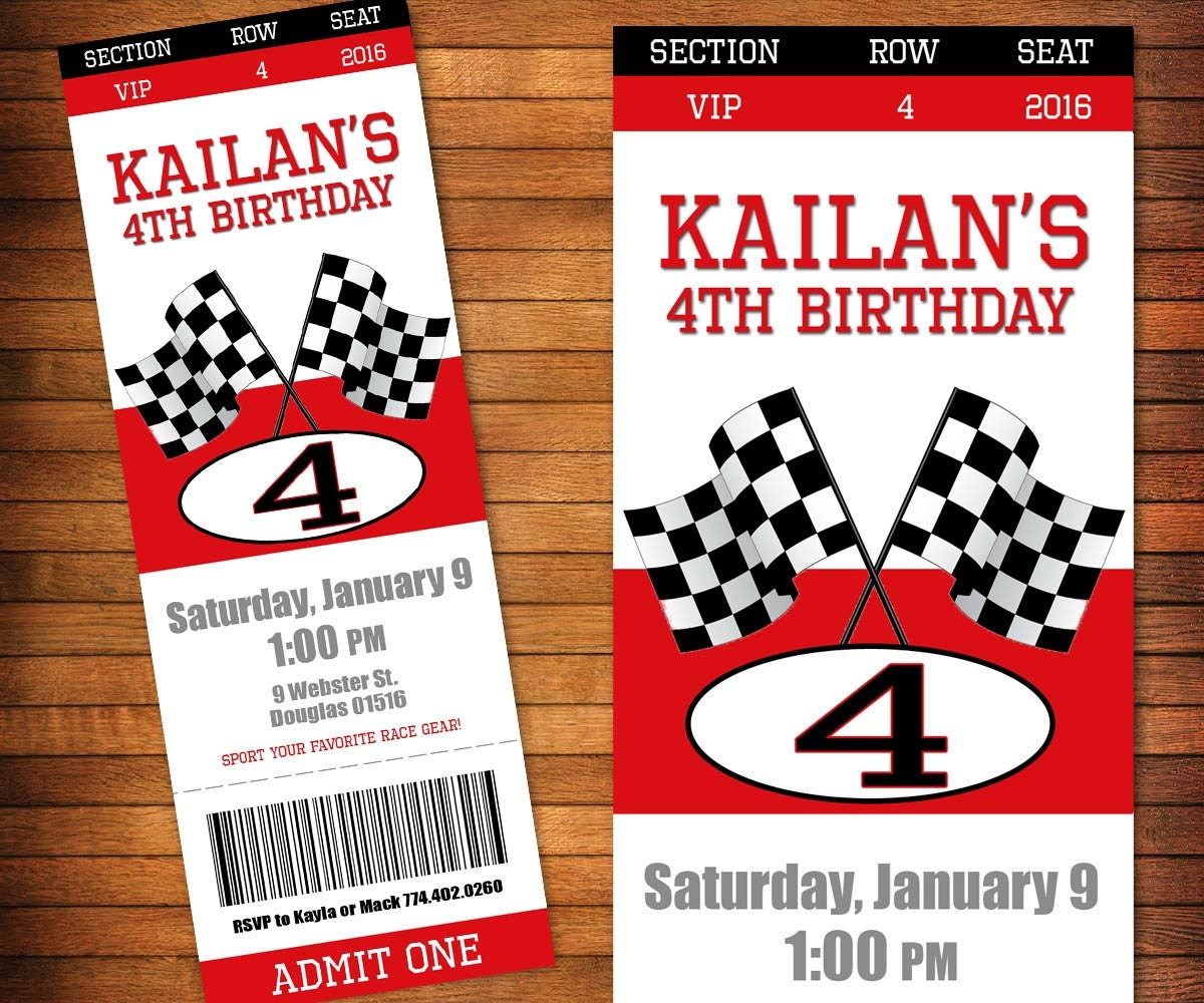 race car invitations  etsy, Birthday invitations