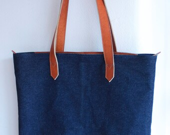 Jean Tote Bag with Leather Handles