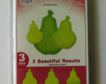 Spellbinders Shapeabilities, Nested Pears, Cut, Emboss, Stencil, Fruit Dies, Summer Die Cuts, Large Pear Dies, Spellbinders Pear Dies, New