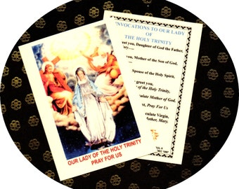 MARY as OUR LADY of the Holy Trinity new laminated holy card with original image and meditation of Pope St John Paul