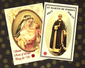 New DOMINICAN SAINTS relic cards St Rose of Lima and St Martin de Porres with **FREE** postage for any uk or Irish address!