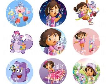 Dora the Explorer digital images, Dora inspired bottle cap images Instant download, Dora and Boots