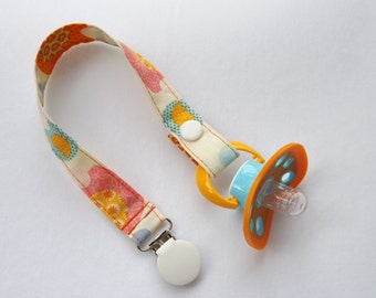 Girl Pacifier Clip-Cute Elephant Print.  Baby Girl Pacifier Holder/Binky holder/Binky clip.